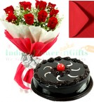 send 1 Kg Eggless Chocolate Truffle Cake Red Roses Bunch Greeting Card delivery