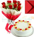send 1 Kg Eggless Pineapple Cake Red Roses Bunch Greeting Card delivery