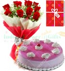 send 1 Kg Eggless Strawberry Cake Red Roses Bunch Greeting Card delivery