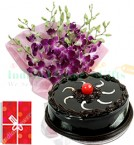 send exotic orchids bouquet with eggless chocolate cake 500gms delivery