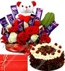 send Half Kg Eggless Black Forest Cake n Special teddy Roses Flower Chocolate Bouquet delivery