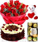 send 500gms Eggless Black Forest Cake Red Rose Bouquet Ferrero Rochher Chocolate Teddy Bear delivery
