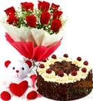 send  Eggless 500gms Black Forest Cake teedy Bear 10 Pcs Red Roses bouquet delivery