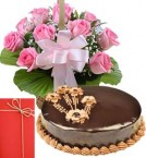 send 1Kg Eggless Chocolate Truffle Cake with Pink Roses Bouquet n Greeting Card delivery