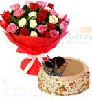 send Eggless Half Kg butterscotch cake n Mix Roses Flower Bouquet delivery