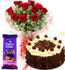 send Eggless Half Kg Black Forest Cake n Red Roses Flower Bouquet Dairy Milk Silk  delivery