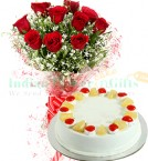 send Half Kg Pineapple Cake N Roses Flower Bouquet delivery