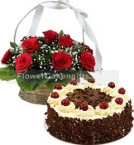 send Black Forest Cake Half Kg N 15 Red Roses Basket delivery