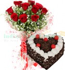 send 1Kg Heart Shape Black Forest Cake N Red Roses Bouquet delivery