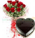 send 1Kg Heart Shape Chocolate Truffle Cake N Red Roses Bouquet delivery