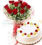 send 1 Kg Pineapple Cake N Roses Flower Bouquet delivery