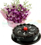 send Half Kg Chocolate Cake n Orchids Bouquet delivery