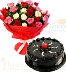send Eggless Half Kg Chocolate Truffle Cake n Mix Roses Flower Bouquet delivery