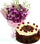 send orchids and Half Kg Black Forest Cake  delivery