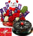 send special surprise Roses Flower n teddy Chocolate arrangement n Cake delivery