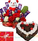 send 1Kg Eggless Heart Shape Black Forest Cake n Special Teddy Roses Chocolate Bouquet delivery