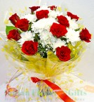 send Red n White Flower Bouquet delivery