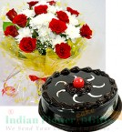 send chocolate truffle cake n Red White Flower bouquet delivery