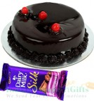 send Half Kg Chocolate Cake n Dairy Milk Silk Chocolate delivery