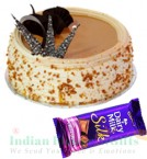 send Half Kg Butterscotch cake n Dairy Milk Silk Chocolate delivery