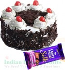 send 500gms Black Forest Cake n Cadbury Dairy Milk Silk delivery