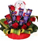 send Teddy Roses Chocolate Bouquet delivery