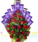 send Roses Flower Dairy Milk Chocolates Bouquet delivery