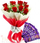 send 10 red roses bouquet and 5 dairy milk chocolate delivery