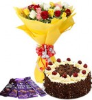 send 10 mix roses bouquet and 5 dairy milk chocolate with 1kg black forest cake delivery