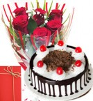 send Roses Bunch 500gms Black Forest Cake with Greeting Card delivery