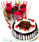 send Half Kg Black Forest Cake and Red Roses Flower Combo  delivery