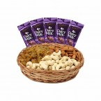 send gift box of 500 Mixed dry fruits and dairy milk chocolate delivery