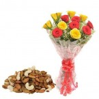 send gift box of 500 Mixed dry fruits and Red Yellow Roses Flower bouquet delivery