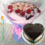 send half kg heart shape chocolate cake n roses ferrero rocher chocolate bouquet  delivery