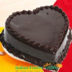 send 500 gms heart shaped chocolate truffle cake delivery
