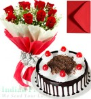 send Roses Bunch 1 Kg Black Forest-Cake with Greeting Card delivery