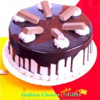send 1Kg eggless kitkat chocolate cake delivery