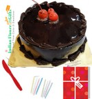 send any occasion half kg eggless chocolate truffle cake n greeting card delivery