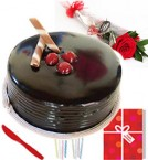send single red roses half kg eggles chocolate cake n greeting card delivery