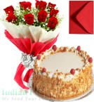 send 1Kg Eggless Butterscotch Cake with Roses Mix  Bouquet delivery