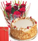 send Half Kg Eggless Butterscotch Cake  with Roses Bunch starter combo delivery