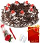 Red Rose 1 kg Eggless Black Forest Cake n Greeting Card