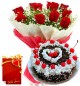 1kg eggless black forest cake Red Roses bunch with greeting card