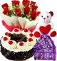 Half Kg Black Forest Eggless Cake Red Roses Bouquet 5 Chocolates  Teddy bear