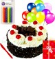Yummy Half Kg Eggless Black Forest Cake N Greeting Card Balloons Candle Gifts