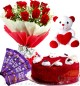 Half Red Velvet Heart Cake Roses Flower Bouquet Chocolate Teddy Gifts