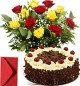 Yellow Red Roses Bouquet n Half Kg Black Forest Cake