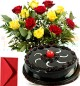 Eggless Half Kg Chocolate Cake n Yellow Red Roses Bouquet