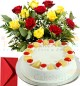 Eggless Half Kg Pineapple Cake n Yellow Red Roses Bouquet