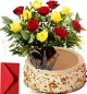 Eggless Half Kg Butterscotch Cake n Yellow Red Roses Bouquet